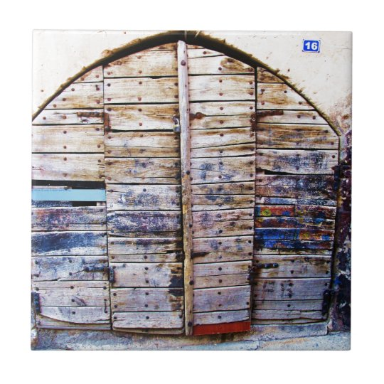 Old Vintage Wooden Greek Door, Crete Greece Small Square Tile