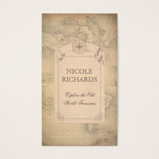 Old Vintage World Map Traveller Adventure Business Card