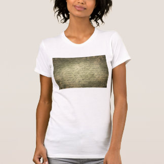 Old vintage writing paper text tees