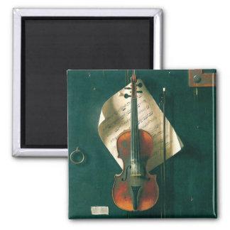 Old Violin Still Life by Harnett, Vintage Fine Art Magnet