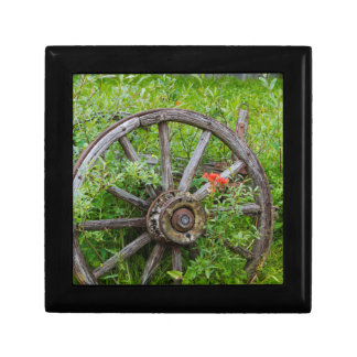 Old wagon wheel in historic old gold town 3 gift box