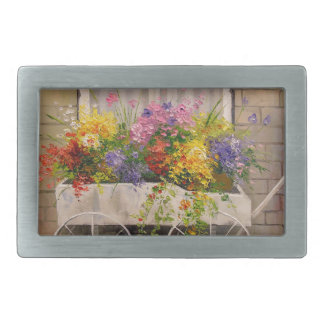 Old wagon with flowers rectangular belt buckles