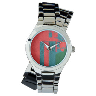 Old Wall Blue Coral Green Pattern Watch