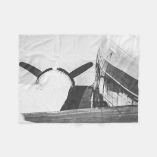 Old War Military Airplane B&W Fleece Blanket