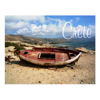 Old Weathered Boat on Crete Shore Postcard