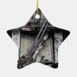 Old weathered row boat. christmas ornament