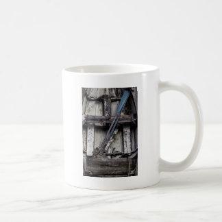 Old weathered row boat. coffee mug