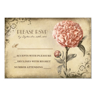 old wedding RSVP card with pink peony bloom 9 Cm X 13 Cm Invitation Card