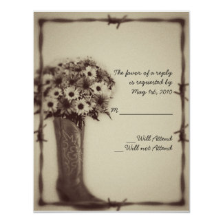 Old West Boot and Bouquet Vintage Response Card