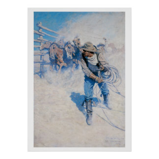 Old West Breaking Horses Art Print Poster