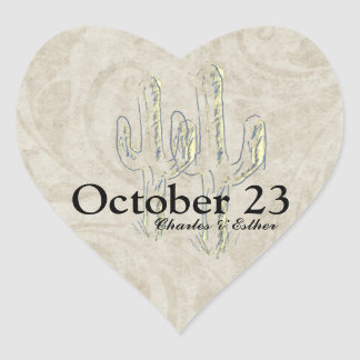 Old West Cactus Save the Date Heart Sticker
