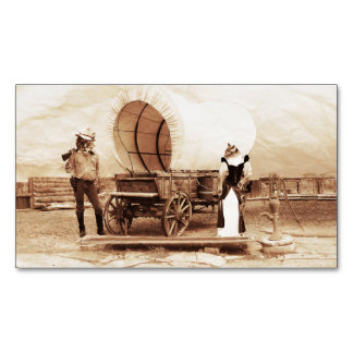 Old West Cats with Covered Wagon Magnetic Business Cards