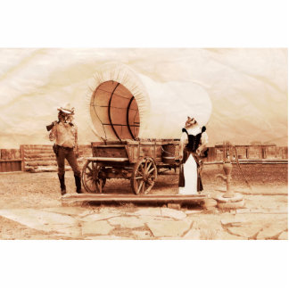 Old West  Cats with Covered Wagon Photo Cutouts