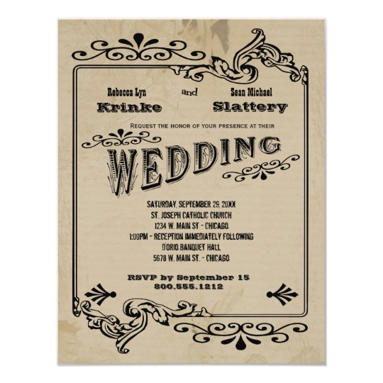 Old West Inspired Customisable Wedding Invite