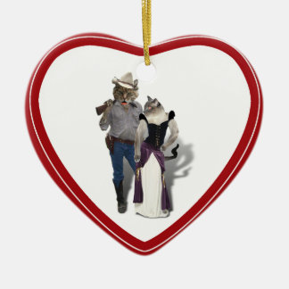 Old West 'Purrfect'  Cat Couple Ceramic Heart Decoration
