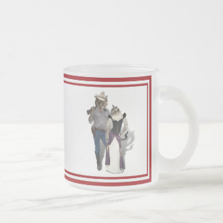Old West 'Purrfect'  Cat Couple Frosted Glass Mug
