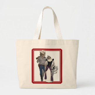 Old West 'Purrfect'  Cat Couple Jumbo Tote Bag