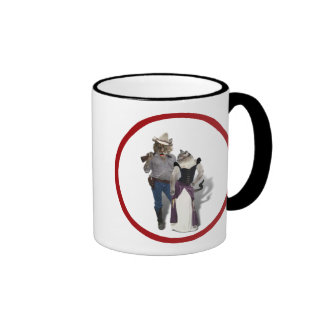 Old West 'Purrfect'  Cat Couple Ringer Mug