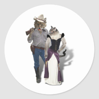 Old West 'Purrfect'  Cat Couple Round Sticker