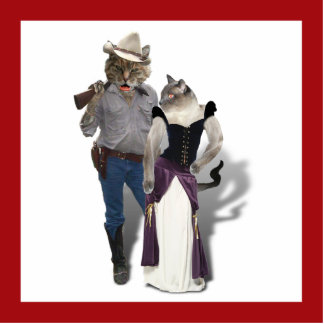 Old West 'Purrfect'  Cat Couple Standing Photo Sculpture