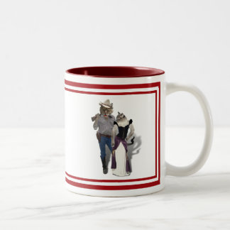 Old West 'Purrfect'  Cat Couple Two-Tone Mug