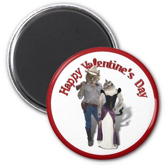 Old West 'Purrfect'  Cat Couple Valentine 6 Cm Round Magnet