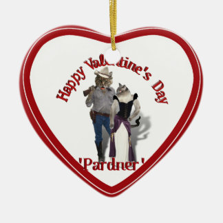 Old West 'Purrfect'  Cat Couple Valentine Ceramic Heart Decoration