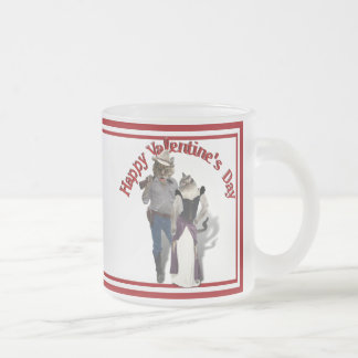 Old West 'Purrfect'  Cat Couple Valentine Frosted Glass Mug