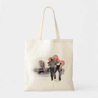 Old West 'Purrfect'  Cat Couple w/ Wagon Budget Tote Bag