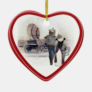 Old West 'Purrfect'  Cat Couple w/ Wagon Ceramic Heart Decoration