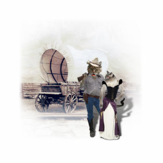 Old West 'Purrfect'  Cat Couple w/ Wagon Standing Photo Sculpture