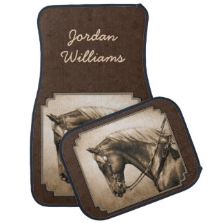 Old West Quarter Horse Sepia Brown Car Mat