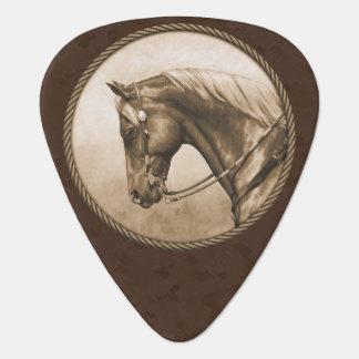 Old West Quarter Horse Sepia Brown Plectrum