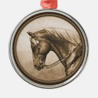 Old West Quarter Horse Sepia Brown Silver-Colored Round Decoration
