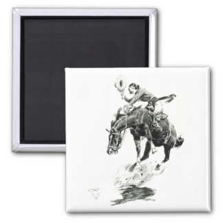 Old West Rodeo Cowgirl Fridge Magnet