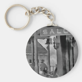 Old West Saloon Basic Round Button Key Ring