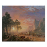 Old West Scene Cattle Drive Vintage Art Poster