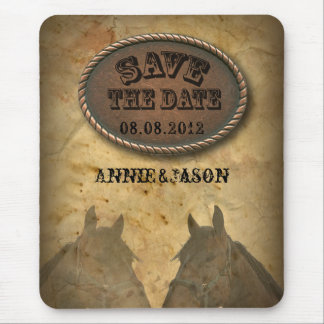 old Western Cowboy Country Wedding SaveTheDate Mouse Pad