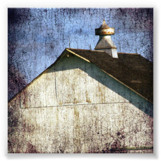 Old White Barn Grunge Photo Print