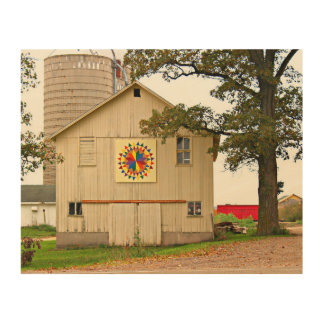 Old White Barn With Rainbow Barn Quilt Wood Wall Decor