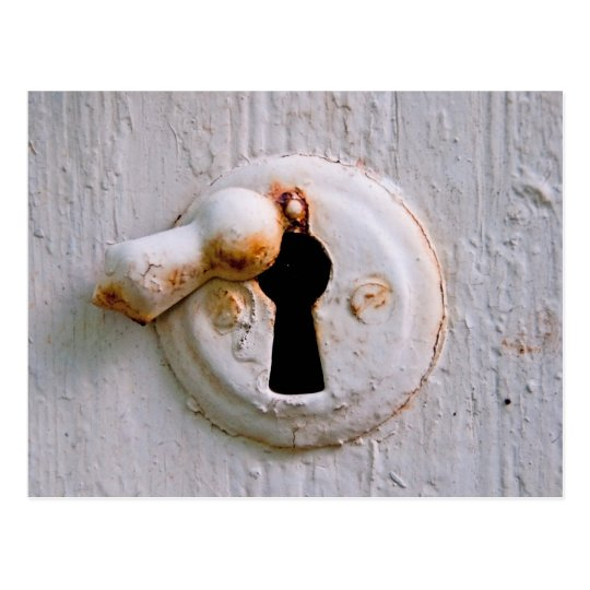 Old white keyhole postcard