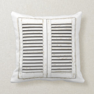 Old white window shutters cushion