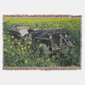 Old Willys MB Jeep Throw Blanket