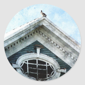 Old Window and a Pigeon Round Sticker