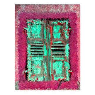 old window shutter extrudes, postcard