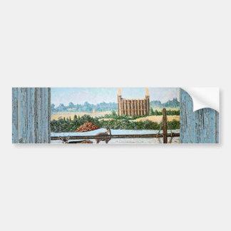 Old window temple blue bumper sticker