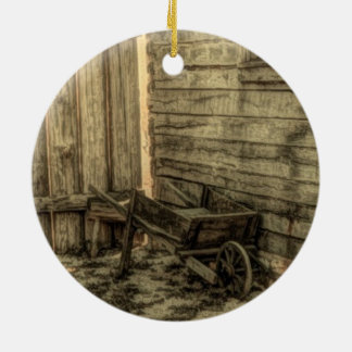old window wooden wheelbarrow rustic farmhouse christmas ornament