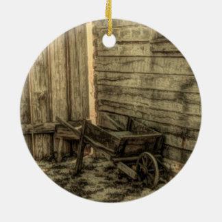 old window wooden wheelbarrow rustic farmhouse round ceramic decoration