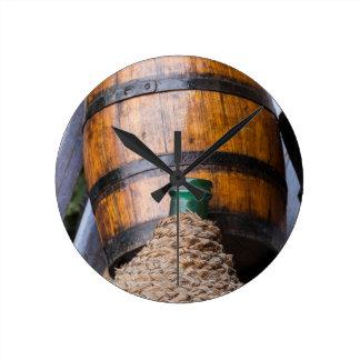 old wine barrel round clock
