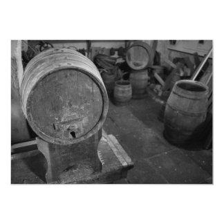 Old wine barrels 13 cm x 18 cm invitation card